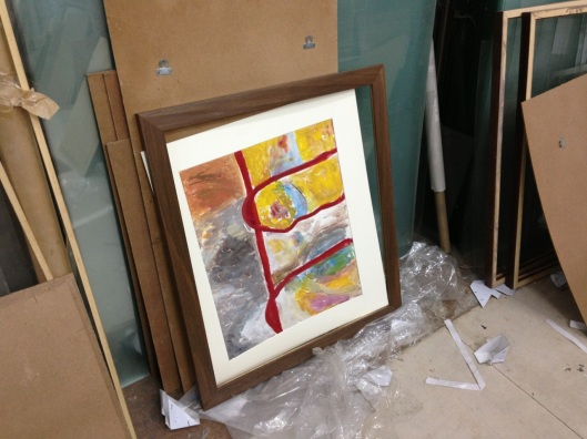 Stage 7: Frame and mounted painting readied for the glass mounting.