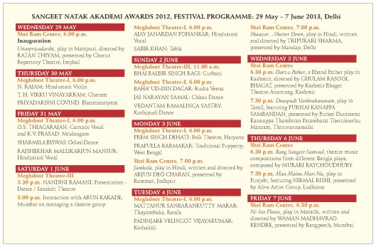 SNA Awards 2012 Programme Card III