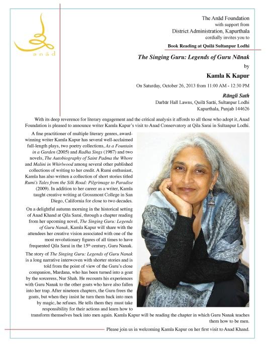 2013 10 26 Kamla Kapur Book Reading