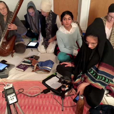 Nirvair Kaur and Sat Kirtan Kaur leading a practice session